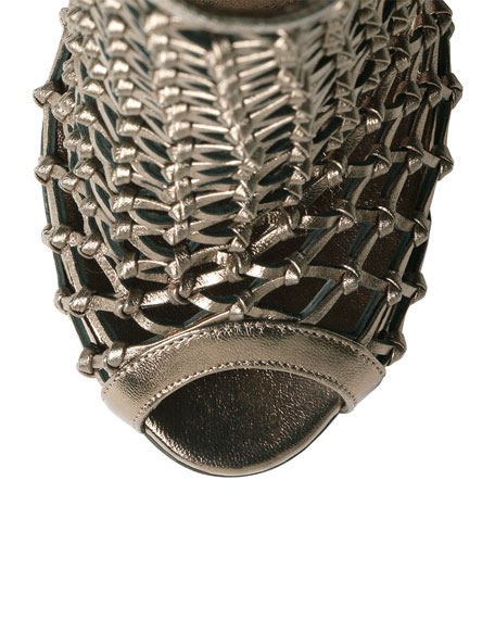 Caged Metallic Crisscross Bootie, Gunmetal