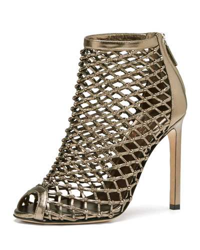 Gucci Caged Metallic Crisscross Bootie, Gunmetal