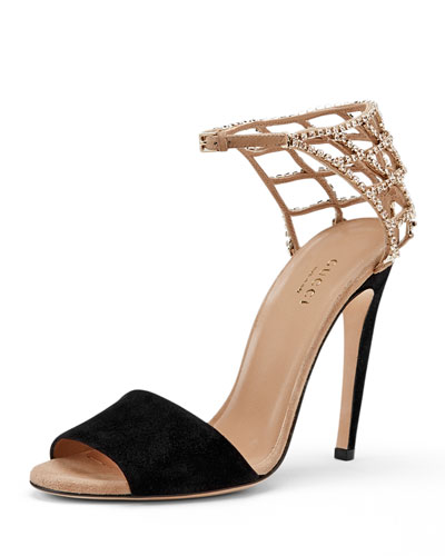 Gucci Caged Crystal Ankle-Strap Sandal, Black/Tan