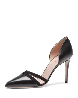 Gucci d'Orsay Point-Toe Pump, Black