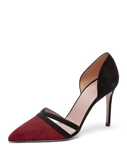 Gucci Suede d'Orsay Point-Toe Pump, Burgundy/Nero