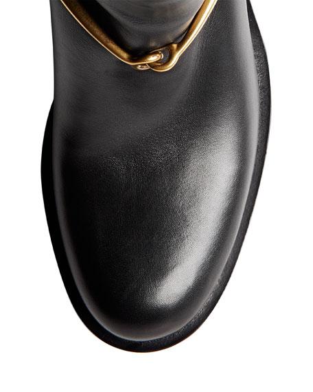 Leather Knee Boot with Horsebit, Nero