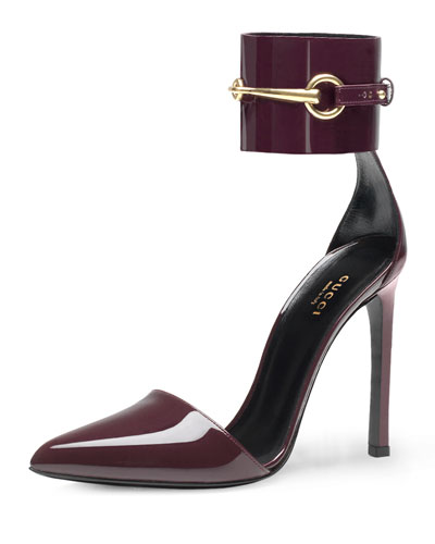 Gucci Horsebit Ankle-Cuff Pump, Burgundy