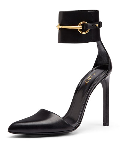 Gucci Horsebit Ankle-Cuff Pump, Nero
