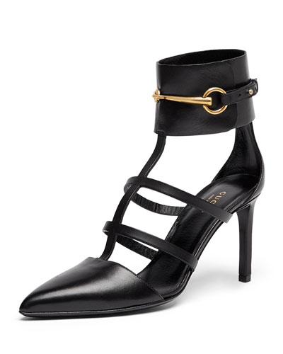 Gucci Point-Toe Caged Ankle Pump, Nero