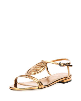Bottega Veneta Woven Metallic Leather Sandal, Bronze