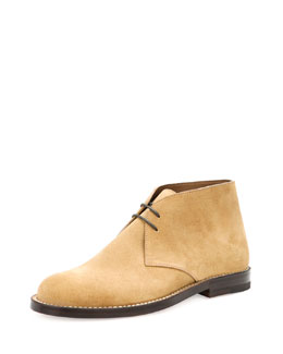 Bottega Veneta Suede Lace-Up Ankle Boot, Bronze