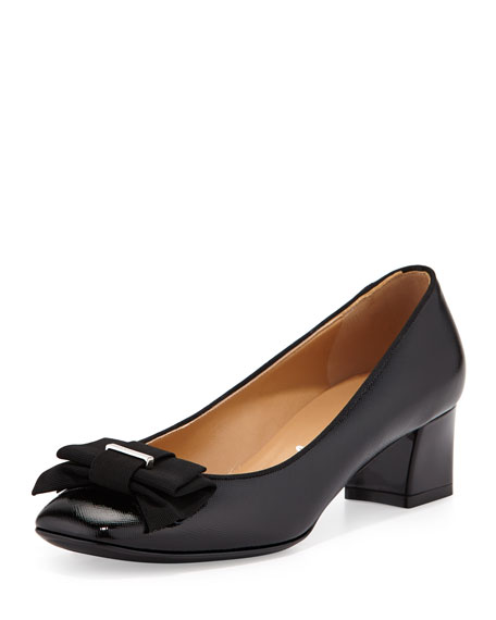 Salvatore Ferragamo My Muse Patent Bow Pump, Nero