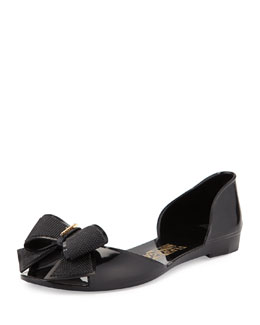 Salvatore Ferragamo Barbados Bow Jelly Flat, Nero