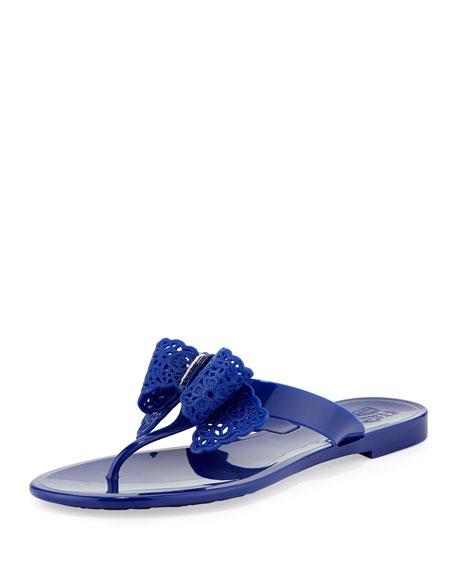 Pandy Lace-Bow Jelly Thong Sandal, Zaffiro Blue