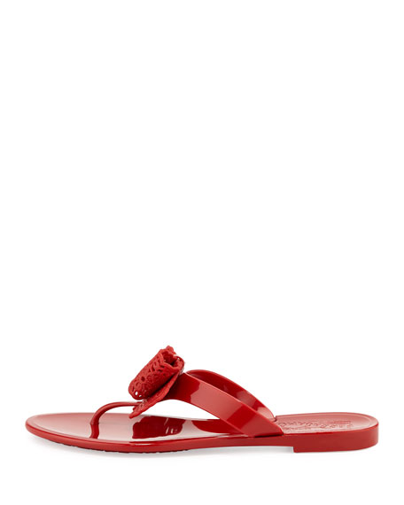 8b8410373b64 Salvatore Ferragamo Pandy Lace-Bow Jelly Thong Sandal