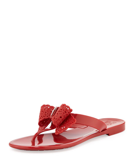 Pandy Lace-Bow Jelly Thong Sandal, Rosso Red