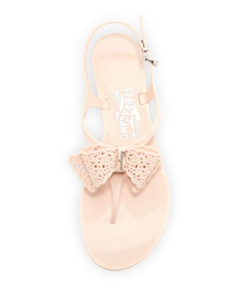 Perala Lace-Bow Jelly Sandal, Quarzo Rosa