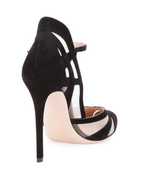 Suede & Mesh Ankle-Strap Pump, Black