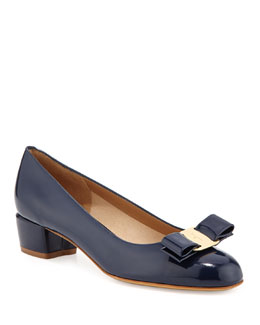 Salvatore Ferragamo Vara 1 Patent Bow Pump, Oxford Blue