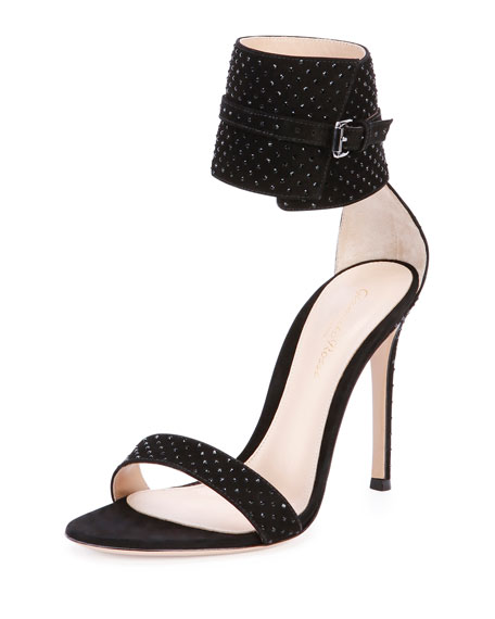 Suede & Crystal Ankle-Wrap Sandal, Black