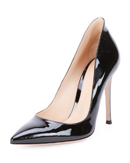 Gianvito Rossi Patent Leather Point-Toe Pump, Black