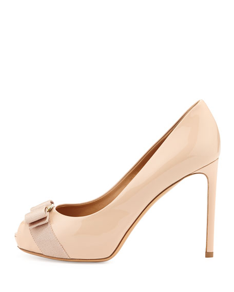 Peep-Toe Bow Pump, New Bisque