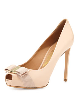Salvatore Ferragamo Plum Peep-Toe Bow Pump, New Bisque