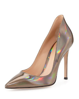 Gianvito Rossi Mirror Leather Point-Toe Pump, Silver