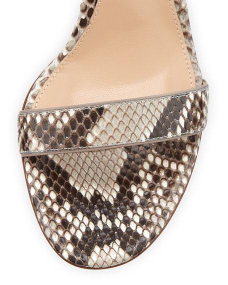 Python Ankle-Wrap Skinny Sandal, Natural