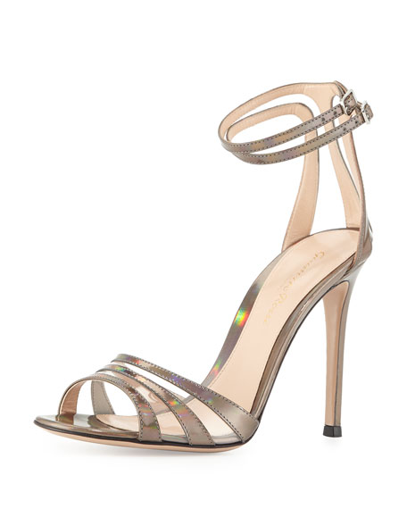 Mirrored Ankle-Wrap Sandal, Silver