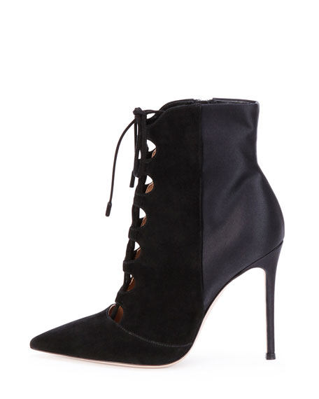 Suede Lace-Up Ankle Bootie, Black