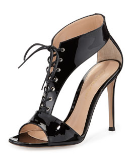 Gianvito Rossi Patent Leather T-Strap Lace-Up Sandal