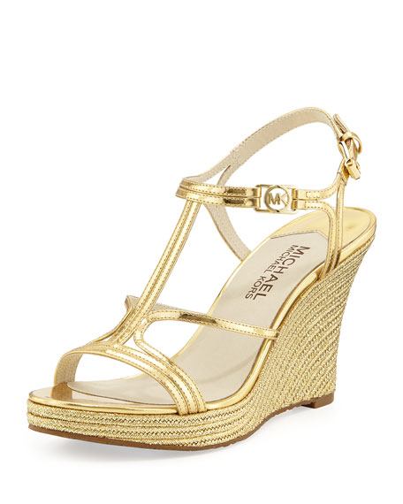 Cicely Wedge Sandal, Pale Gold