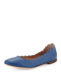 Chloe Scalloped Leather Ballerina Flat, Blue