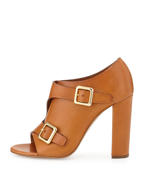 Double Monk Strap Leather Bootie, Brown