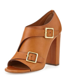 Chloe Double Monk Strap Leather Bootie, Brown
