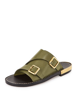 Chloe Double-Monk Slide Sandal