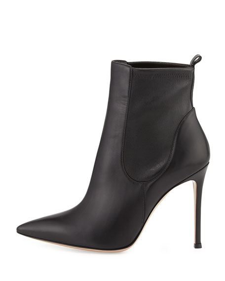 Stretch Leather Ankle Boot, Black