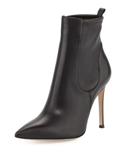 Gianvito Rossi Stretch Leather Ankle Boot, Black