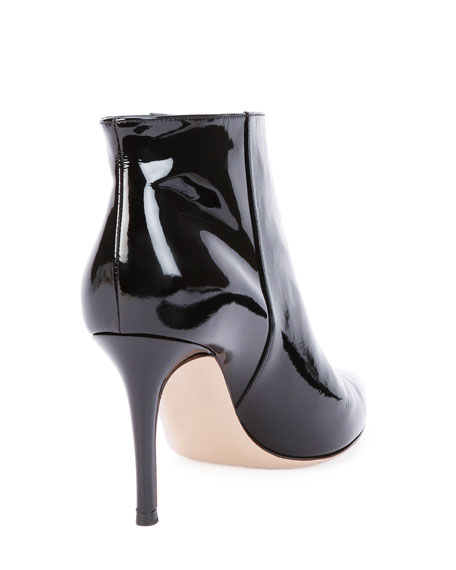 Patent Point-Toe Ankle Bootie, Black