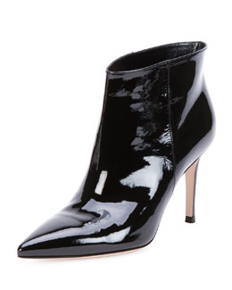 Gianvito Rossi Patent Point-Toe Ankle Bootie, Black