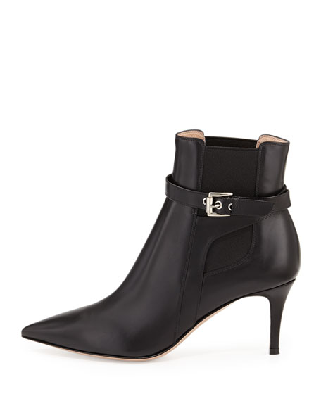Buckled Leather Point-Toe Bootie, Black