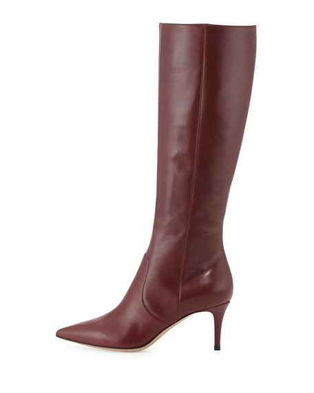 Leather Point-Toe Knee Boot, Burgundy