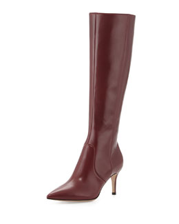 Gianvito Rossi Leather Point-Toe Knee Boot, Burgundy