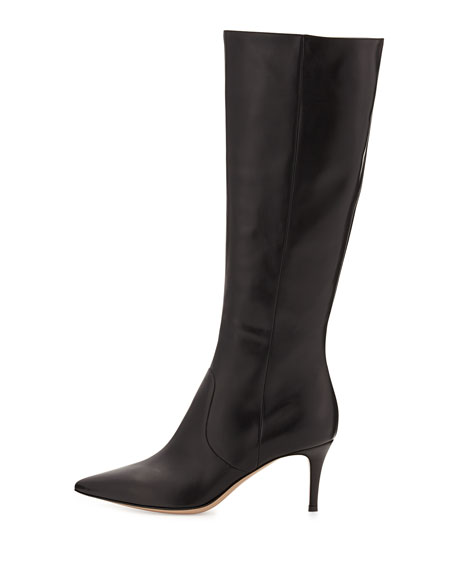 a1d9f7f20ec Pointy Low-Heel Knee Boot Black