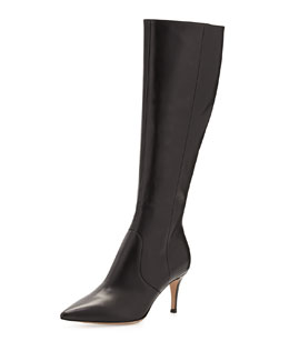 Gianvito Rossi Pointy Low-Heel Knee Boot, Black