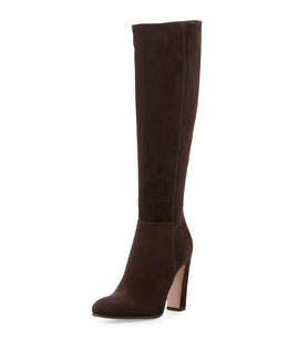 Gianvito Rossi Suede Knee Boot, Dark Brown