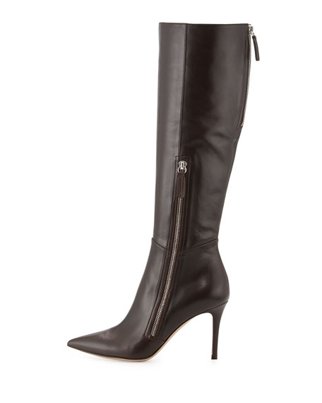 Leather Side-Zip Knee Boot, Dark Brown