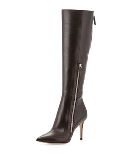 Gianvito Rossi Leather Side-Zip Knee Boot, Dark Brown