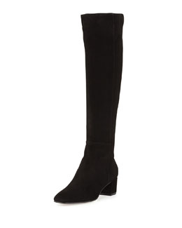 Gianvito Rossi Low-Heel Suede Knee Boot, Black