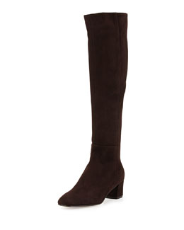 Gianvito Rossi Low-Heel Suede Knee Boot, Dark Brown