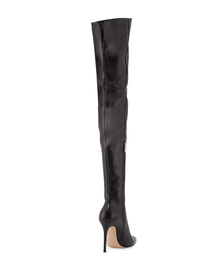 Leather Over-the-Knee Boot, Black