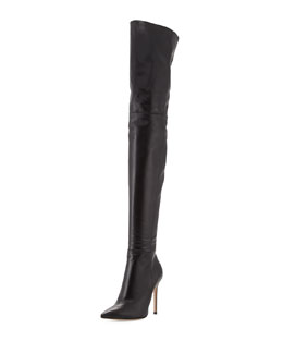 Gianvito Rossi Leather Over-the-Knee Boot, Black