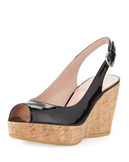 Stuart Weitzman Jean Patent Cork Wedge, Black (Made to Order)